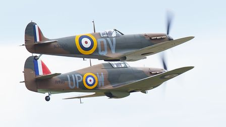 A Spitfire and Hurricane flying together at the IWM Duxford showcase day on Tuesday, August 4. Pictu