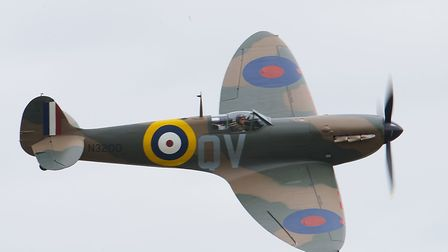 A Spitfire Mk1a flying at the IWM Duxford showcase day on Tuesday, August 4. Picture: Gerry Weatherh