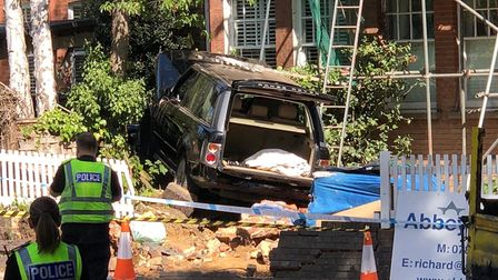 A car crashed into scaffolding at the junction of Lemsford Road and Sandpit Lane. Picture: Craig She