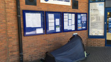 A rough sleeper has set up camp outside St Albans district council offices.