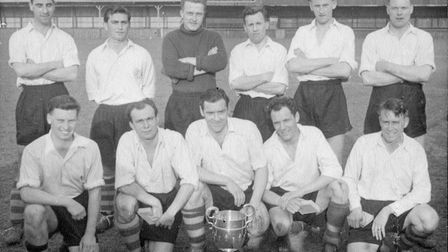 Fred Collings (front row, middle) was captain when St Albans City won the 1956 Herts Senior Cup. Pic