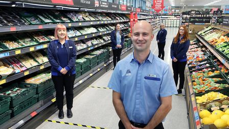 Aldi grand opening with St Ives store manager Michael Chorlton and team members.