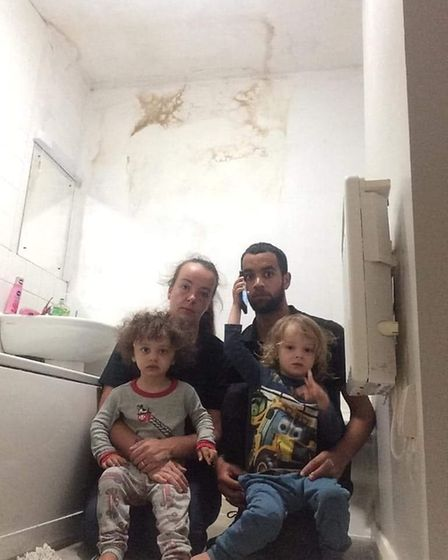 The family in Hightown Housing flats Ellis House are having to live with damp and mould. Picture: Su