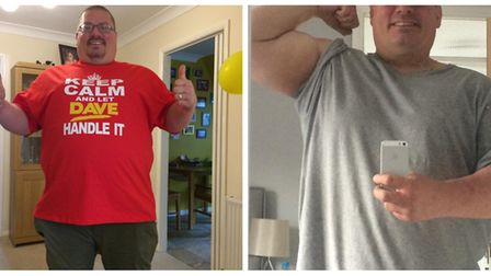 David Webb from Royston before and after he lost weight. Picture: Supplied