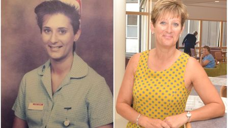 Lynda Hall pictured in her student nursing days, and more recently as Macmillan lead cancer nurse. P