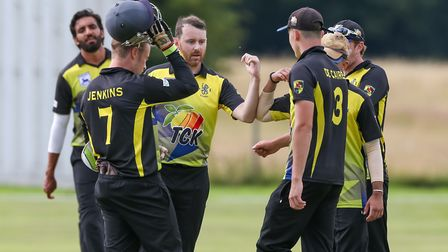 Anthony Hill celebrates the wicket of North Mymms' Stefaan Fernando in the league match between Nort