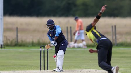 Stefaan Fernando batting in the league match between North Mymms 1st XI and Radlett 1st XI at North