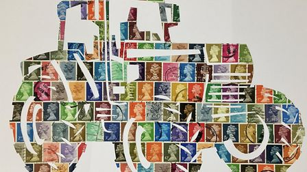 Artist Frances Corlett created this image from recycled stamps and other items.