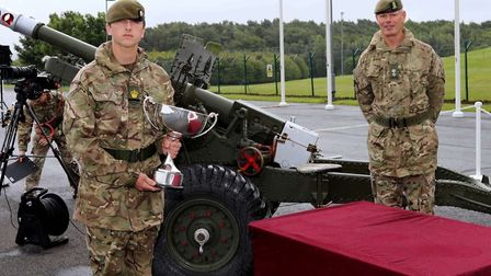 Junior CSM Ollie Read parading at the Army Foundation College and receiving his award for Best Overa