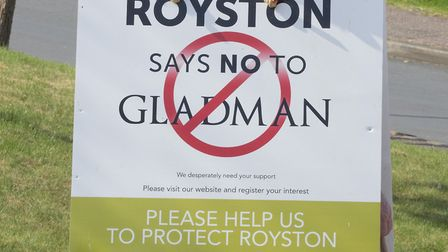 Royston Says No To Gladman campaigner and resident Mr Bubbins with billboard campaigning against the