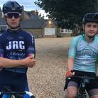 Angus Lawrence and Ollie Maynard at the start of their challenge
