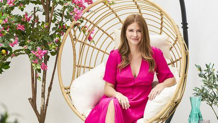 Millie Mackintosh on her patio, which has been given a makeover by Wayfair and features an Artificia