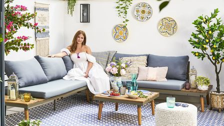 Millie Mackintosh on her patio... Kirch 5 Seater Corner Sofa Set, £1,069.99; Artificial Bougainvill