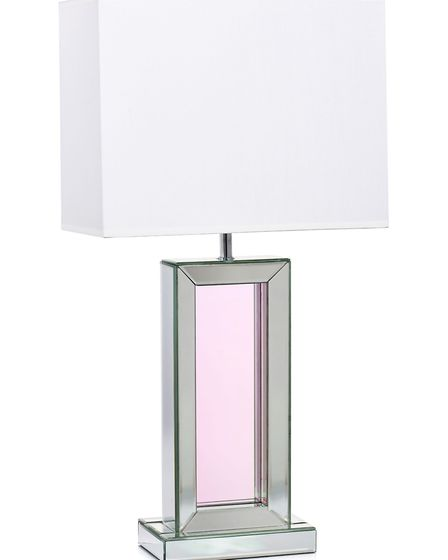 Rylan Clark-Neals Luxenoa collection, Iridescent Mirrored Lamp With Rectangular Shade, £75, QVC. Pic