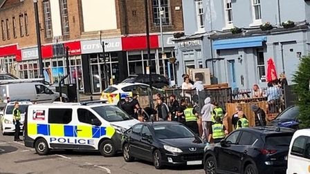 There was a large police presence in Victoria Street and Upper Lattimore Road in St Albans yesterday