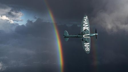The Aircraft Restoration Company's 'Thank U NHS' Spitfire in flight. The aircraft is due to fly over