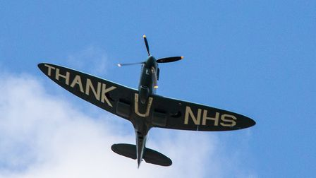 The 'Thank You NHS' Spitfire flying over the New QEII Hospital in Welwyn Garden City earlier this mo