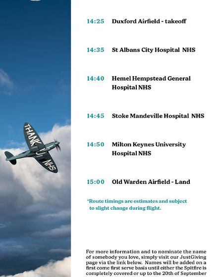 The route of the Aircraft Restoration Company's NHS Spitfire on Saturday, July 18, with the flight t