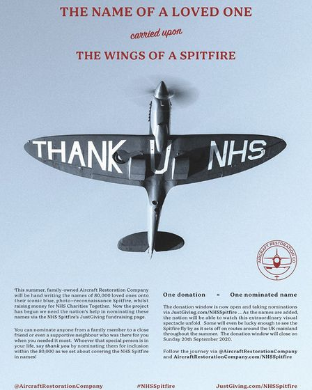 You can have your name painted on the Aircraft Restoration Company's NHS Spitfire.