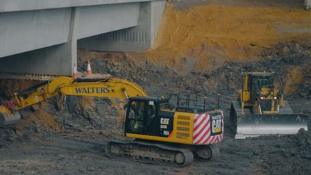 .Work in progress on the A1198 bridge.