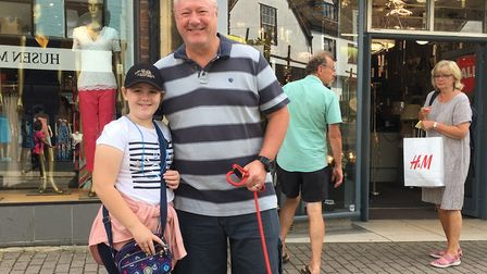 Phil Davies and his daughter Sian, from St Albans, gave their views on compulsory face masks in shop