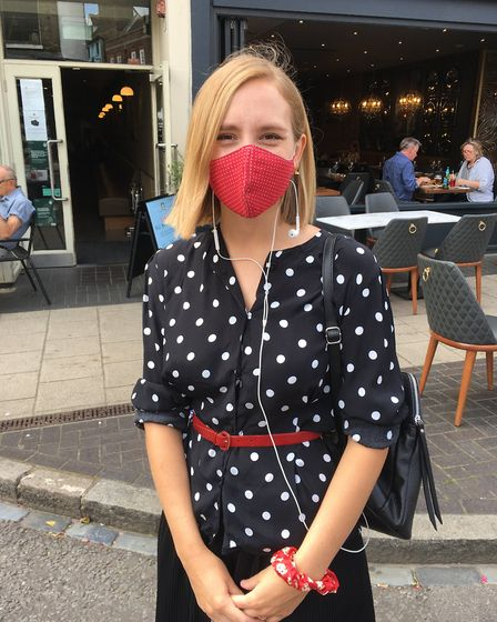 Amy Reddick, a chef from St Albans, gave her views on compulsory face masks in shops. Picture: Laura