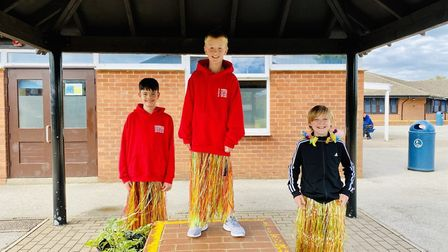 Sam, Charlie and Elliott at the Crosshall Junior SchoolYear 6 leaving party, which had a Hawaiian t
