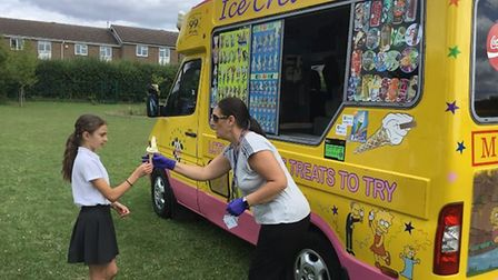 Children at Winhills Schoo in St Neots enjoyed an ice cream van as part of their Year 6 leaving cele