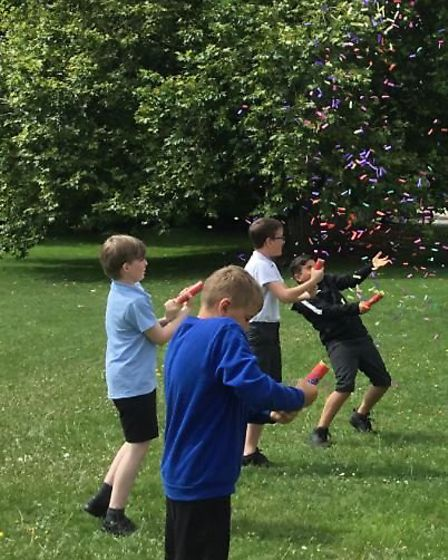 Year 6 pupils at Winhills in St Neots with a confetti canon.