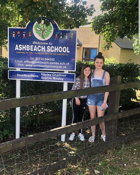Tia Kendrick and Olivia Morris saying goodbye to Ashbeach Primary school in Ramsey St Mary's ready t
