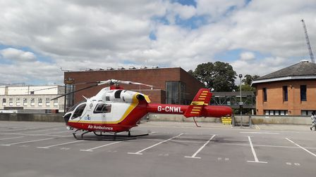 Essex and Herts Air Ambulance landed close to St Peterr's Street in St Albans where a man suffering