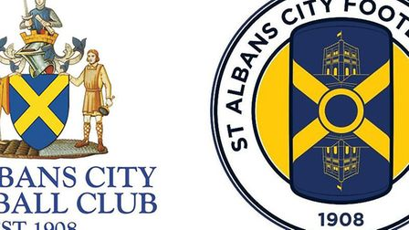 The old and the new badges of St Albans City Football Club.