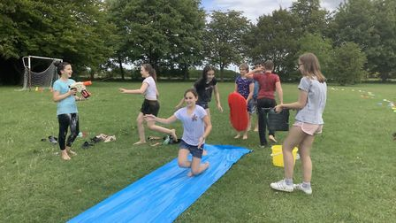 Year 6 pupils from Guilden Morden Primary had a leaving party on the school playground to mark the e