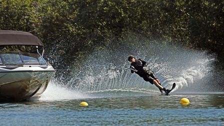 Irving Stone, aged 80, glided across the lake at DAMS Watersports Ltd, in Little Paxton.