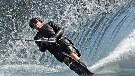 Irving Stone, aged 80, glided across the lake at DAMS Watersports Ltd, in Little Paxton, to celebrat