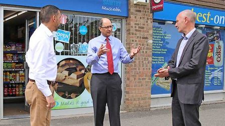 Cllr Simon Bywater, Shailesh Vara MP and Darryl Preston discuss police issues. Picture: VARA OFFICE