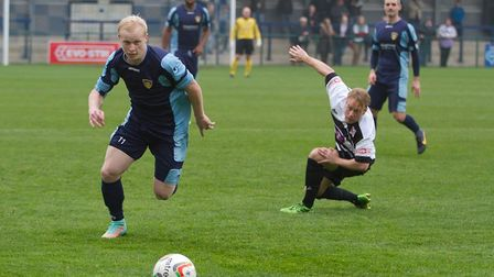 Goalscorer Lewis Hilliard in action for St Neots in their FA Trophy success over Darlington 1883.