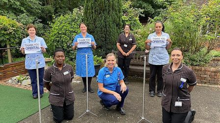 Nurses from Peterborough City Hospital thanking Orbital for stands PICTURE: Peterborough Ci