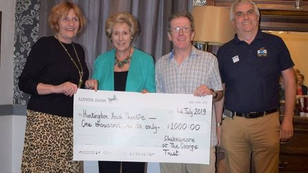 SaTG presentation to Dominic Whitehead, chairman of Huntingdon Youth Theatre with patron Dame Norma