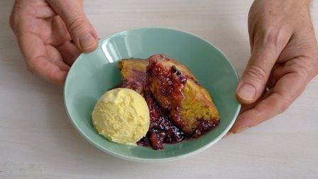 Dan Lepard shows viewers how to make a piping hot jam and carrot sponge pudding on IWM's social medi