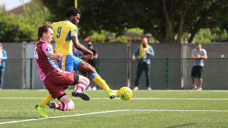 New St Albans City signing Chid Onokwai scores for Haringey Borough against Corinthian Casuals in Au