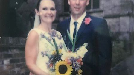Dream wedding in Sawtry takes places during lockdown with guests watching via Zoom. Claire and Ian w