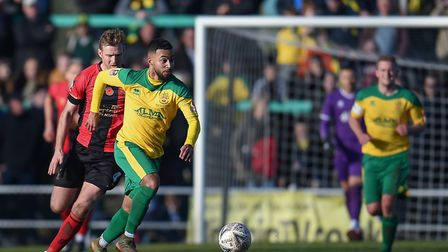 Isaac Galliford playing for Hitchin Town during their FA Cup first round proper match against Solihu