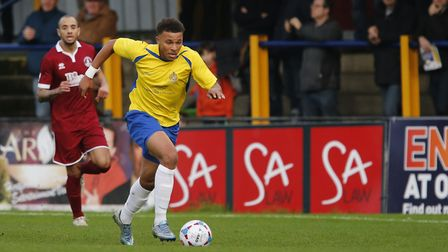 New Royston Town signing Jonathan Edwards in action for St Albans City against Chelmsford City in 20