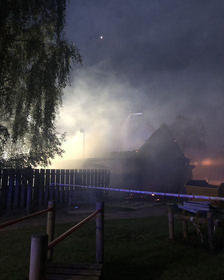 Firefighters worked through the night to tackle the blaze at Duxford Community Primary School. Pictu