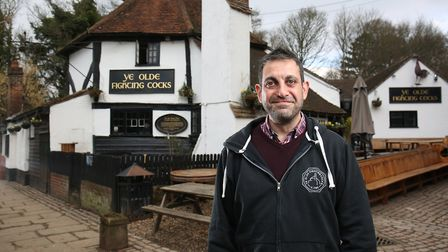 Ye Olde Fighting Cocks Landlord Christo Tofalli outside the pub which is in line for a £1 million r