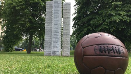A football and sculpture. Picture: Supplied by Open Cambridge
