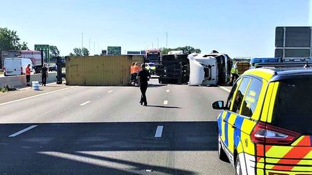 Overturned lorry on the A1 at Brampton which caused standstill traffic in Huntingdon, Godmanchester