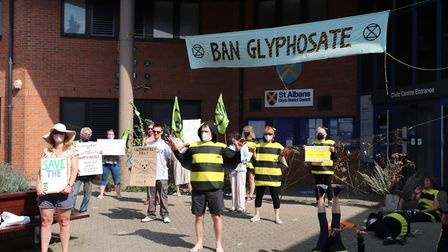 Around 30 people turned out to protest against the use of weed killer Glyphosate in St Albans. Pictu