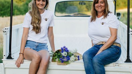 Abigail Ross and Katie Carr modelling the Save the Bees collection.